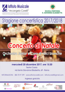 Orchestra per bambini Cassia locandina concerto Natale 20 dicembre 2017