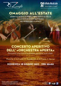 2017 Locandina concerto Orchestra aperta 18 giugno RizCafé Ostia