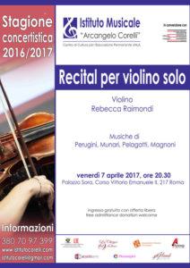 2017 locandina concerto Rebecca Raimondi Recital violino 7 aprile