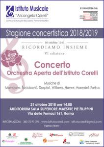 2018 locandina concerto Orchestra Aperta Istituto Corelli a via delle Fornaci 21 ottobre
