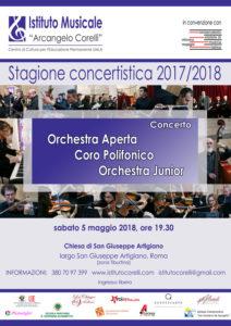 2018 locandina concerto San Giuseppe gruppi musicali Tiburtina Istituto Corelli 5 maggio