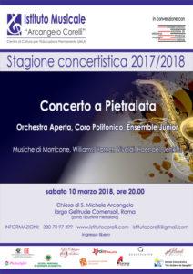 Locandina concerto orchestra e coro Pietralata con Istituto Corelli 10 marzo 2018