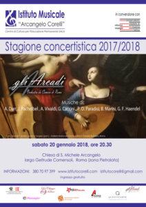 2018 locandina concerto gli Arcadi 20 gennaio Pietralata musica