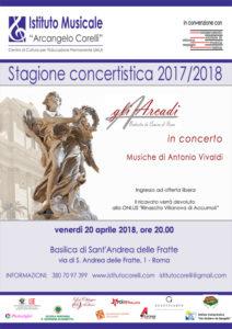 2018 locandina concerto gli Arcadi Sant'Andrea delle Fratte 20 aprile