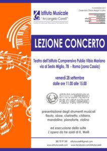 2018 locandina lezione concerto 28 settembre scuola musica Cassia
