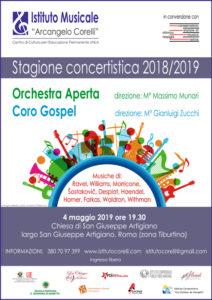 2019 Locandina concerto Orchestra Aperta e Coro Gospel Tiburtina 4 maggio