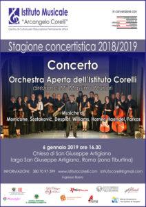 2019 locandina concerto Orchestra Aperta San Giuseppe Artigiano 6 gennaio