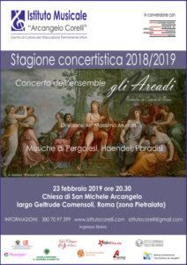 2019 locandina concerto gli Arcadi a San Michele Arcangelo Pietralata 23 febbraio