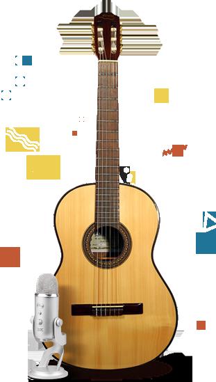 Istituto Musicale Arcangelo Corelli foto con chitarra e microfono